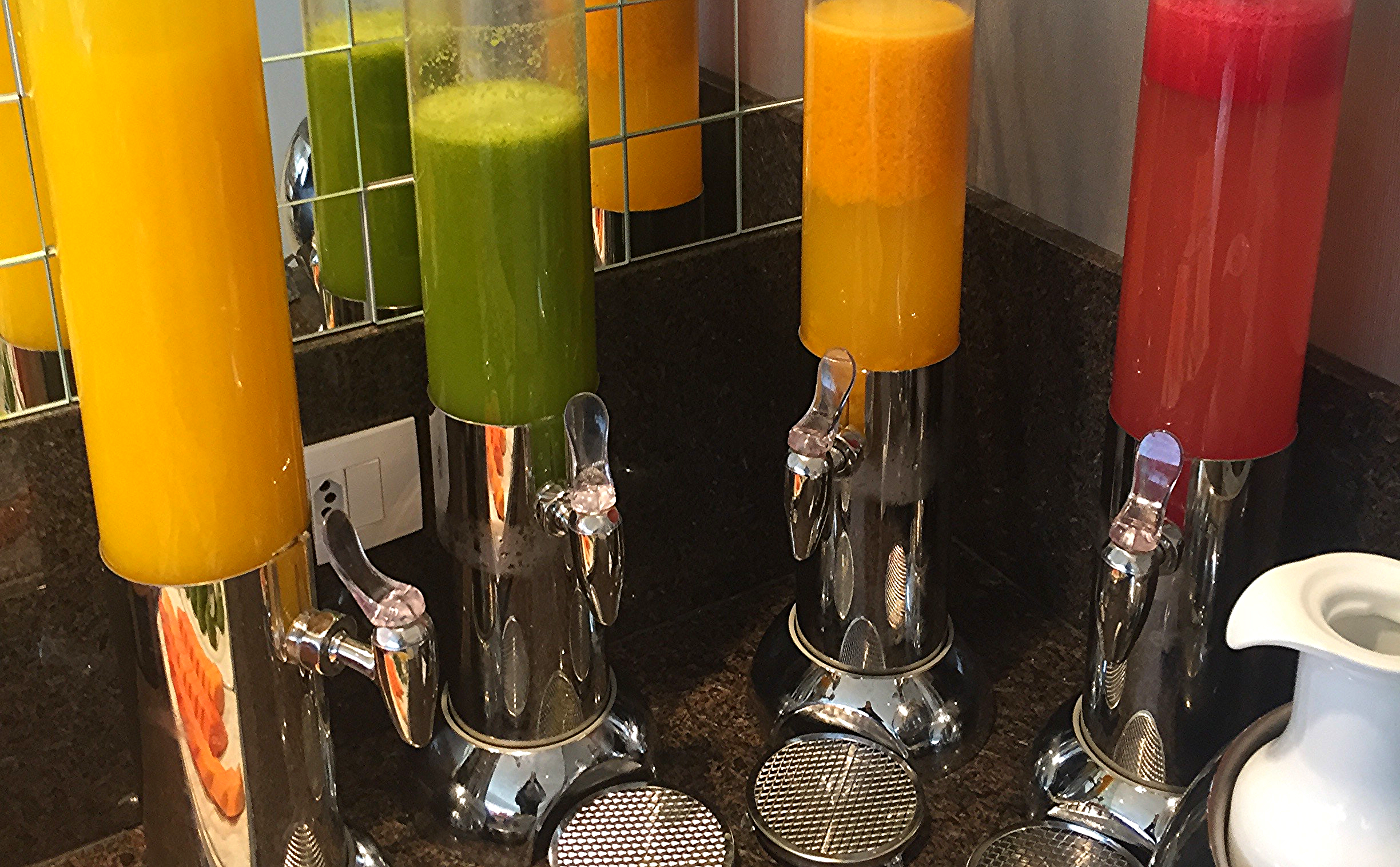 Fresh Squeezed Juices: Orange, Apple/Kale, Passion Fruit (my favorite) and Watermelon
