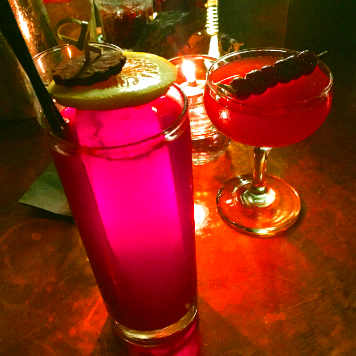 Drinks from left to right: Hiccup and Cherry Bomb. Please Don't Tell NYC