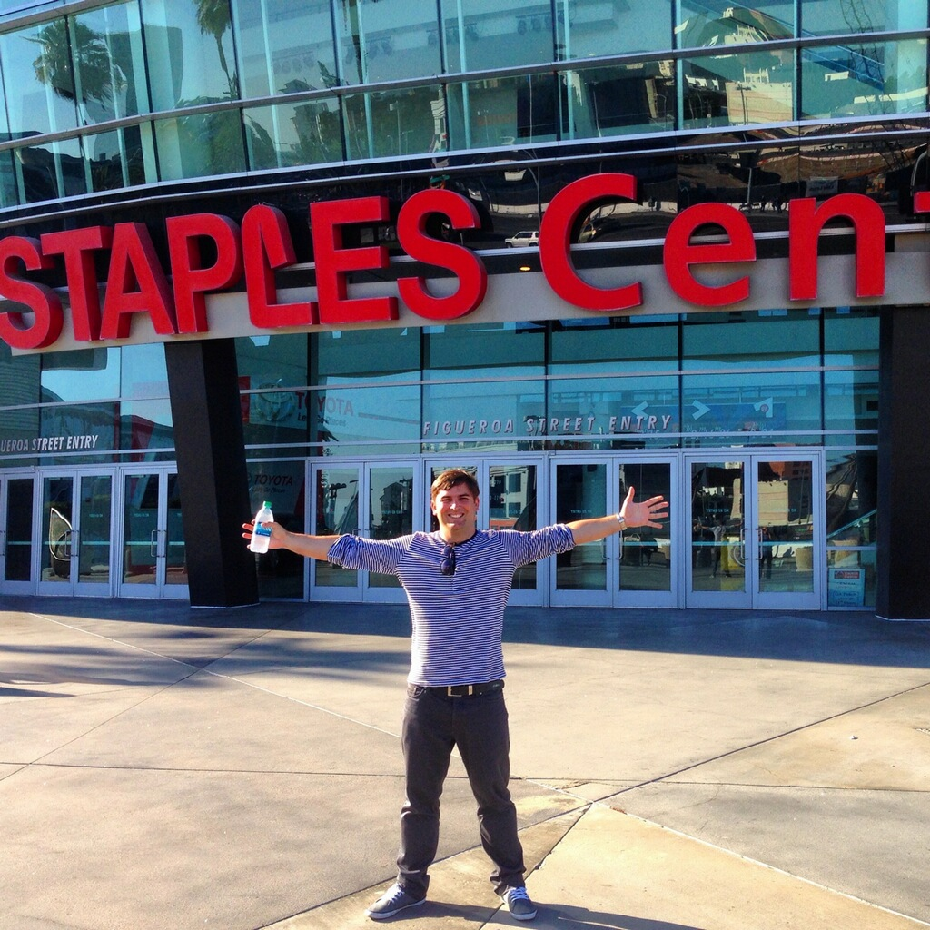 Frank visiting Staples Center in Los Angeles, home of the LA Lakers