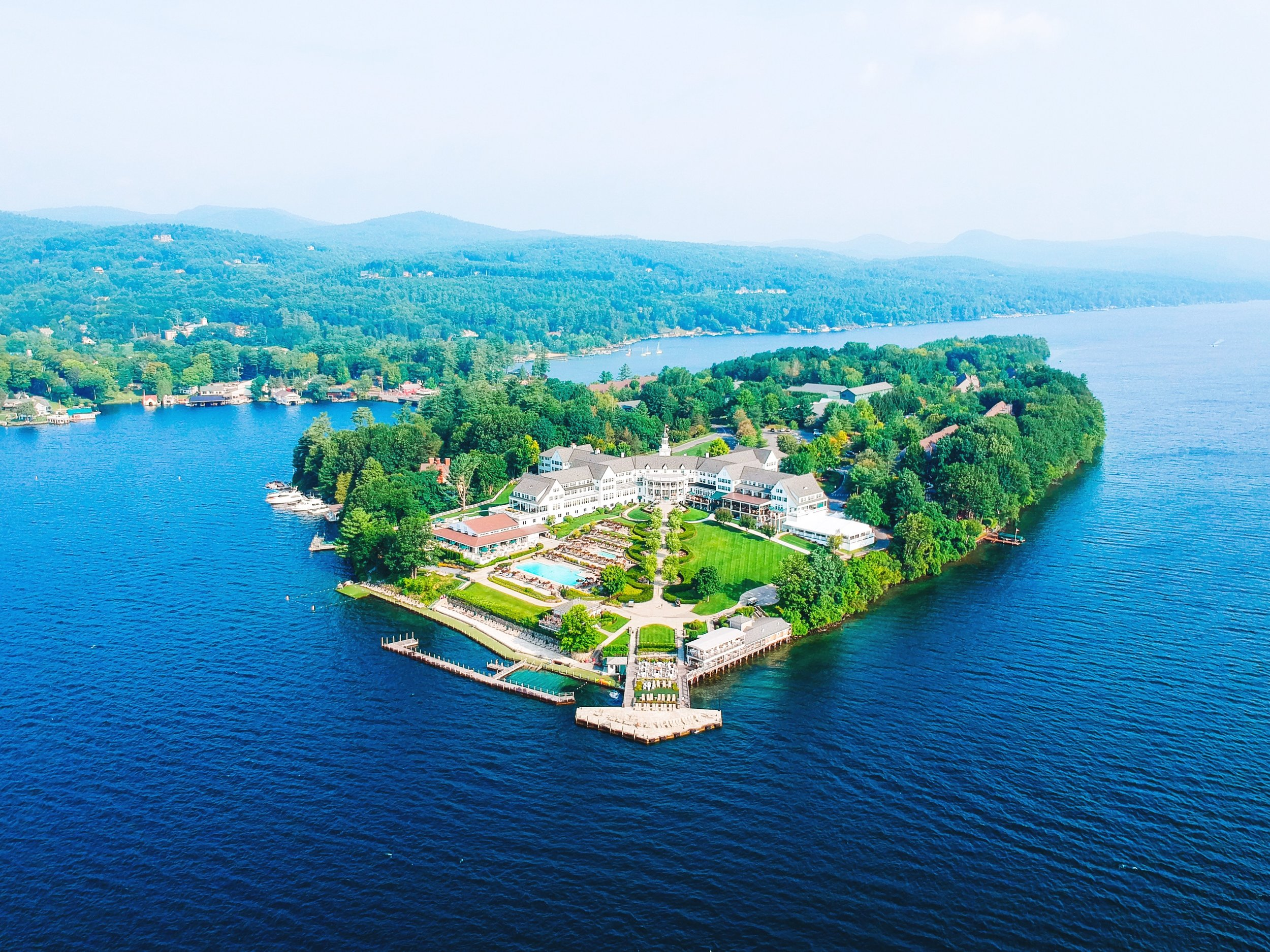 Things to do in Lake George, NY. Drone photo of the Sagamore, one of the best things to do in Lake George.
