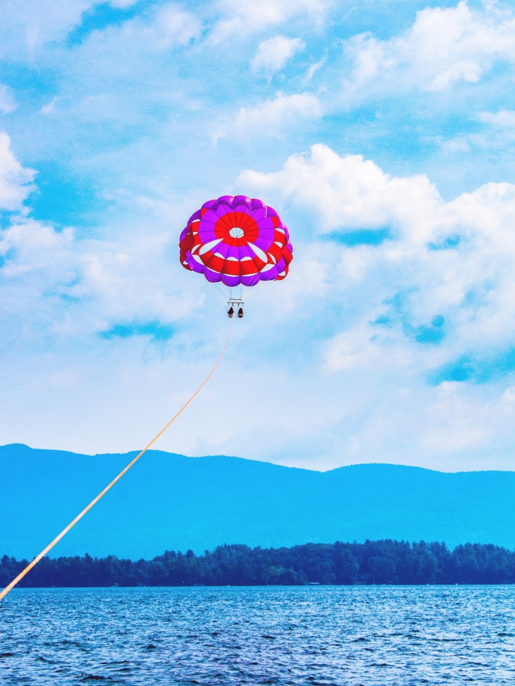Things to do in Lake George are parasailing, ziplining and hiking