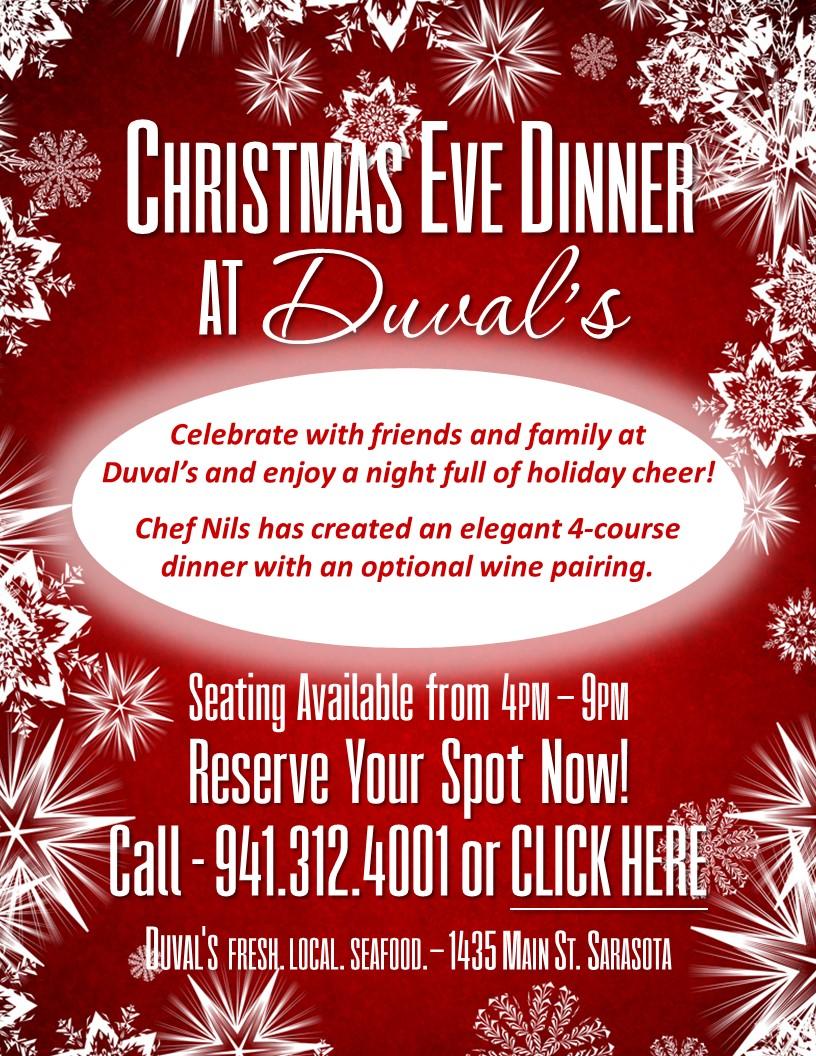 Christmas Eve Dinner Menu.Christmas Eve Dinner Duval S Downtown Sarasota Seafood Restaurant