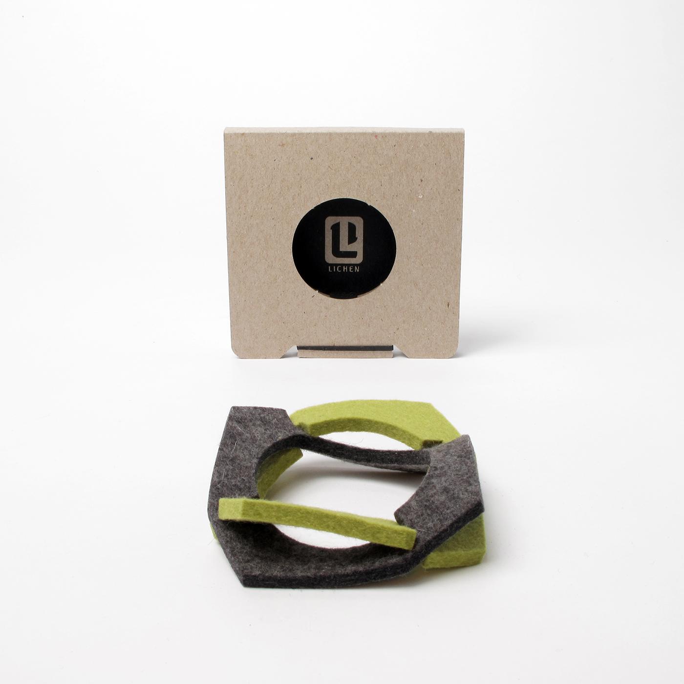 Package design for felt bangle bracelet.