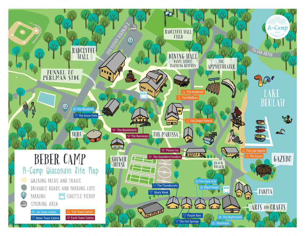Map for A-camp campgrounds 2016 & 2017