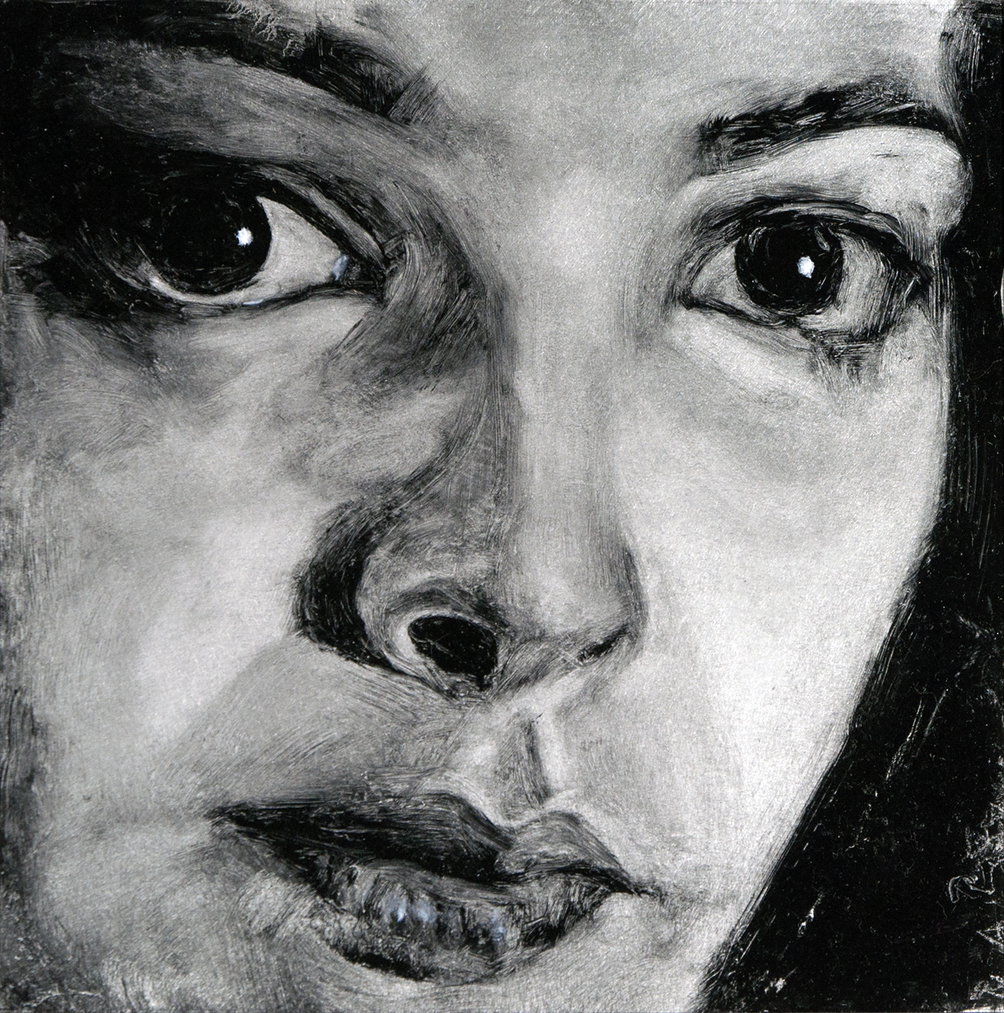The Gaze of Could-Be-Love,Detail No. 2 ,2013,oil on aluminum Dibond, 7 x 7 inches