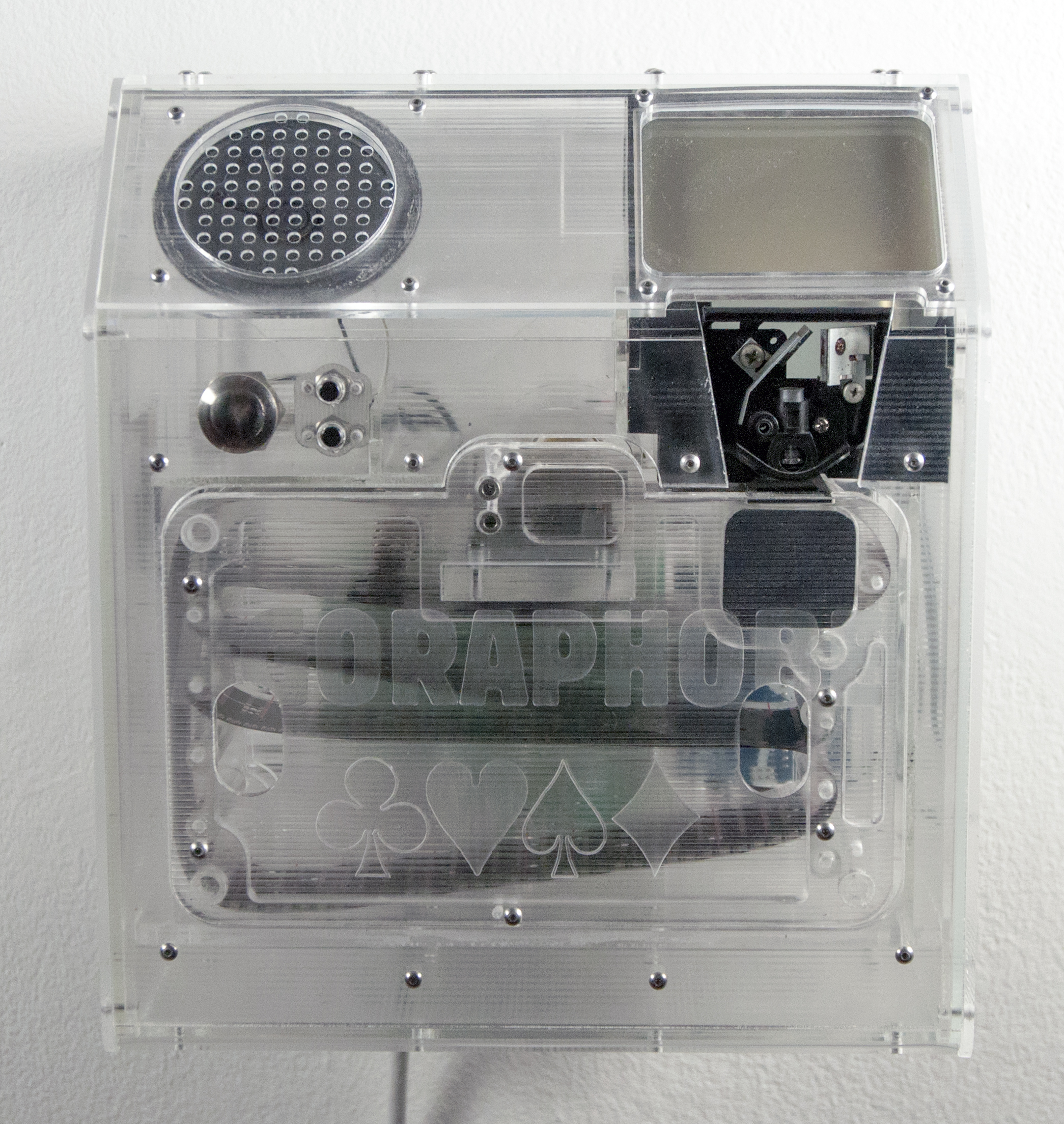 "Jonathan Odom,  Memorette Player with ""Agoraphobe"" Cassette,  2013, laser cut acrylic, gears, motors, mirrors, music box, contact microphone, and inkjet printed film, 11 x 10 x 7 inches"