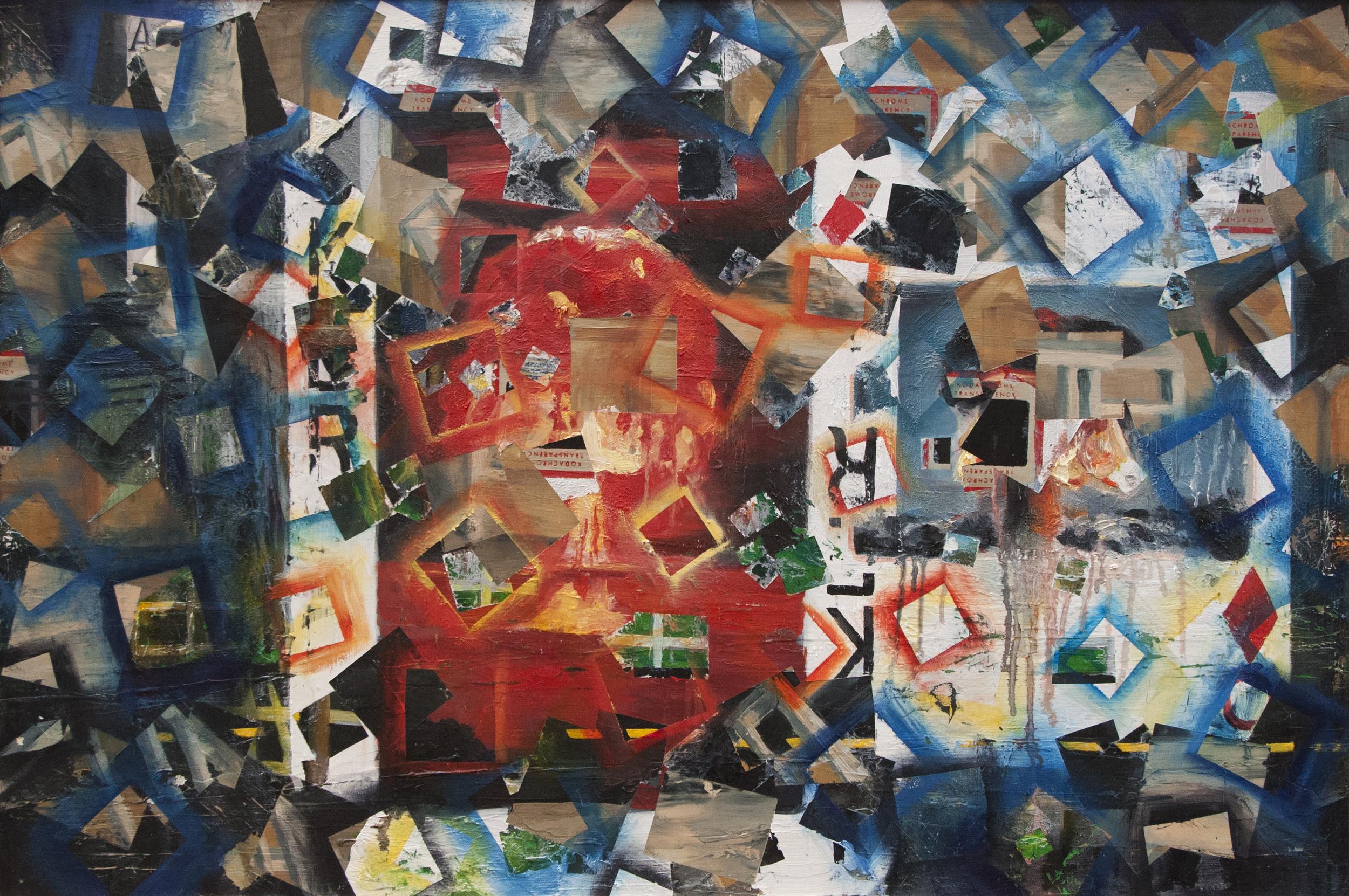 Genessa Kealoha,  Agoraphobe,  2013, oil on wood panel, 24 x 36 inches