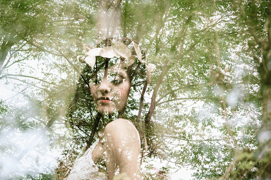 double exposure bridal portrait