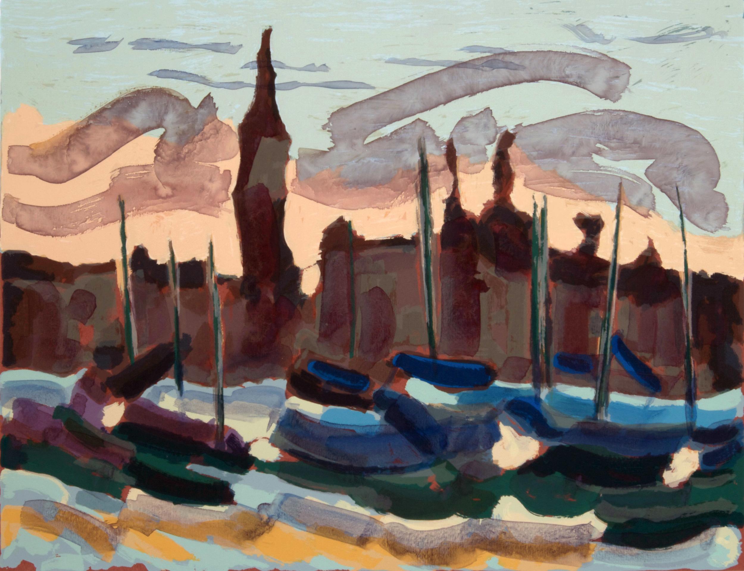 Barche a San Giorgio  , 70x50cm.   Write to   info@robertoferruzzi.com   for a quotation.