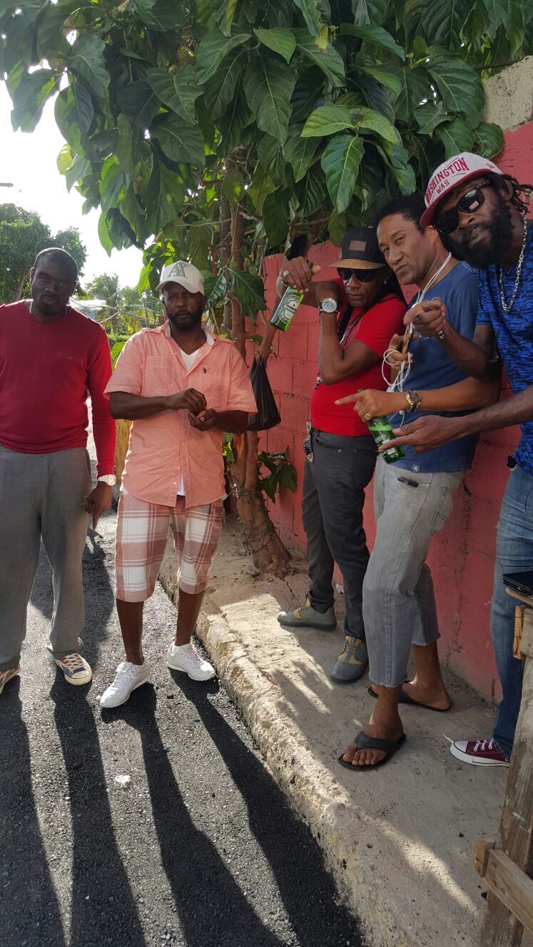 RootsTime Jamaica artist Bobby Boom, along with Pinchers, Ras Maka, China, and singer Mitch.