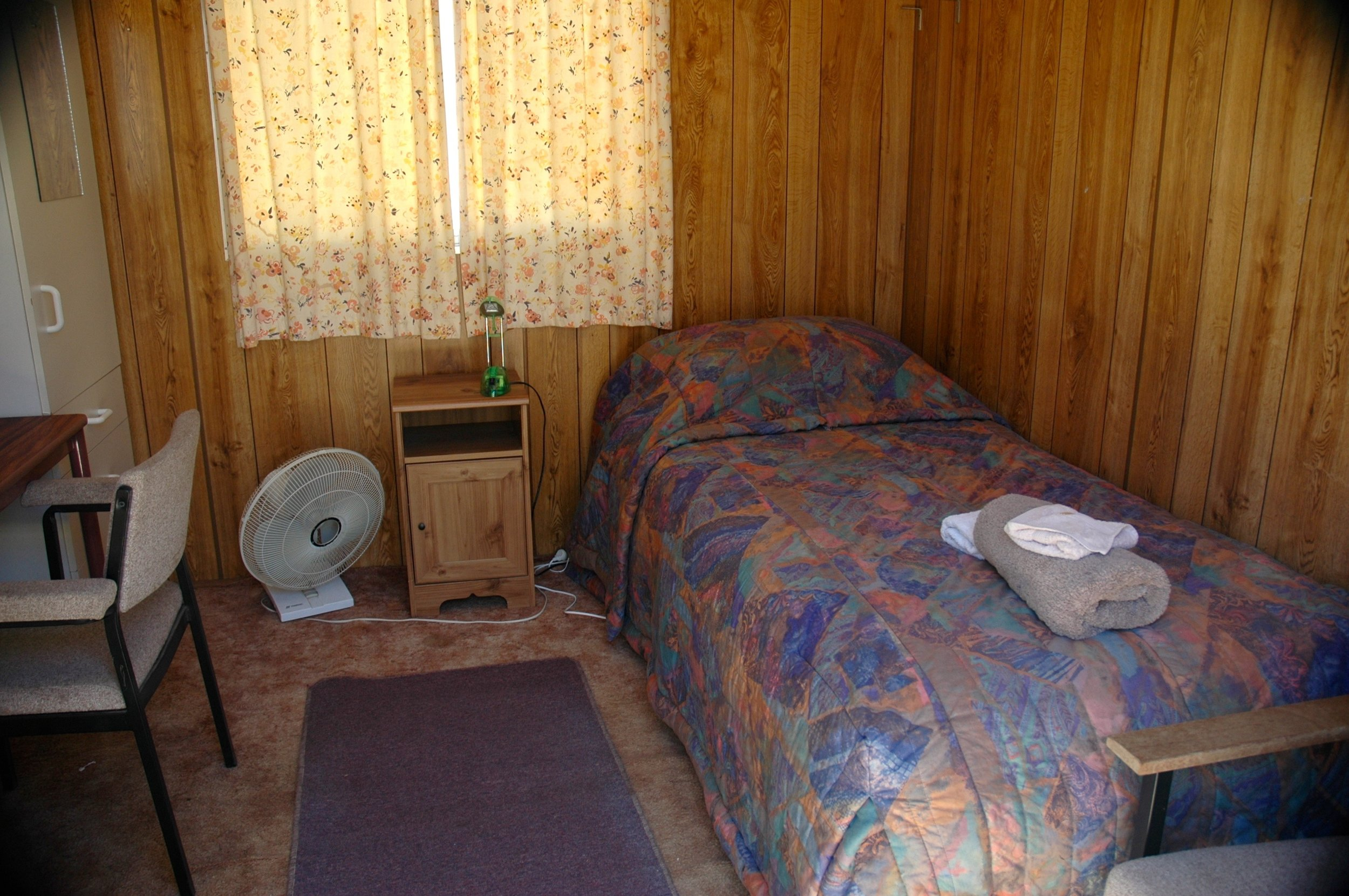 - Your room has bedding, towel, electric blanket, desk, chair.