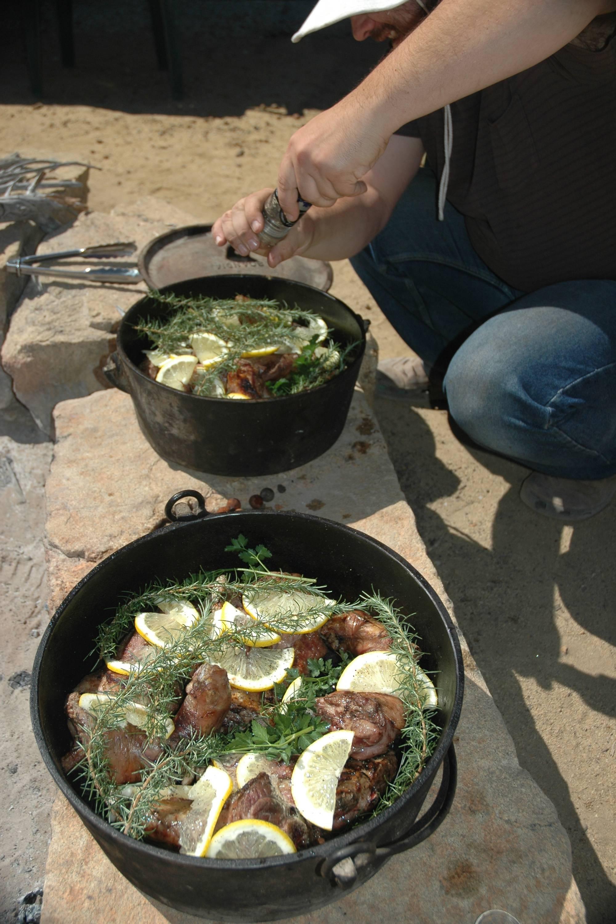 You may enjoy the flavors and textures of slow- cooked camp fire cooking.