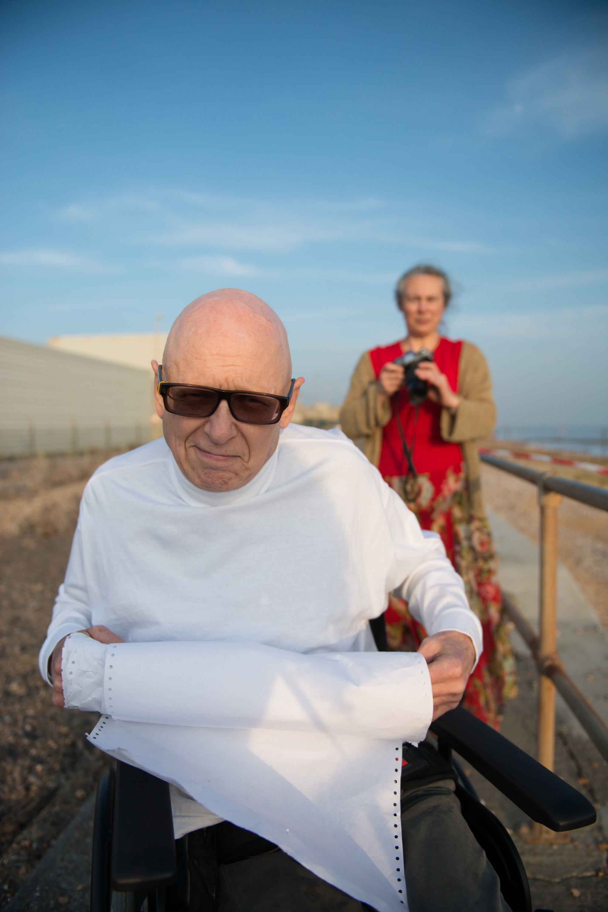 This photograph of Buz Williams and his wife Debbie Green was taken at the end of a shoot by Clare Park, for their project 'Buz and Parkinson's' a narrative photographic project developed over the past twenty years. It was a pleasure being in amongst them whilst they were working together by the sea.