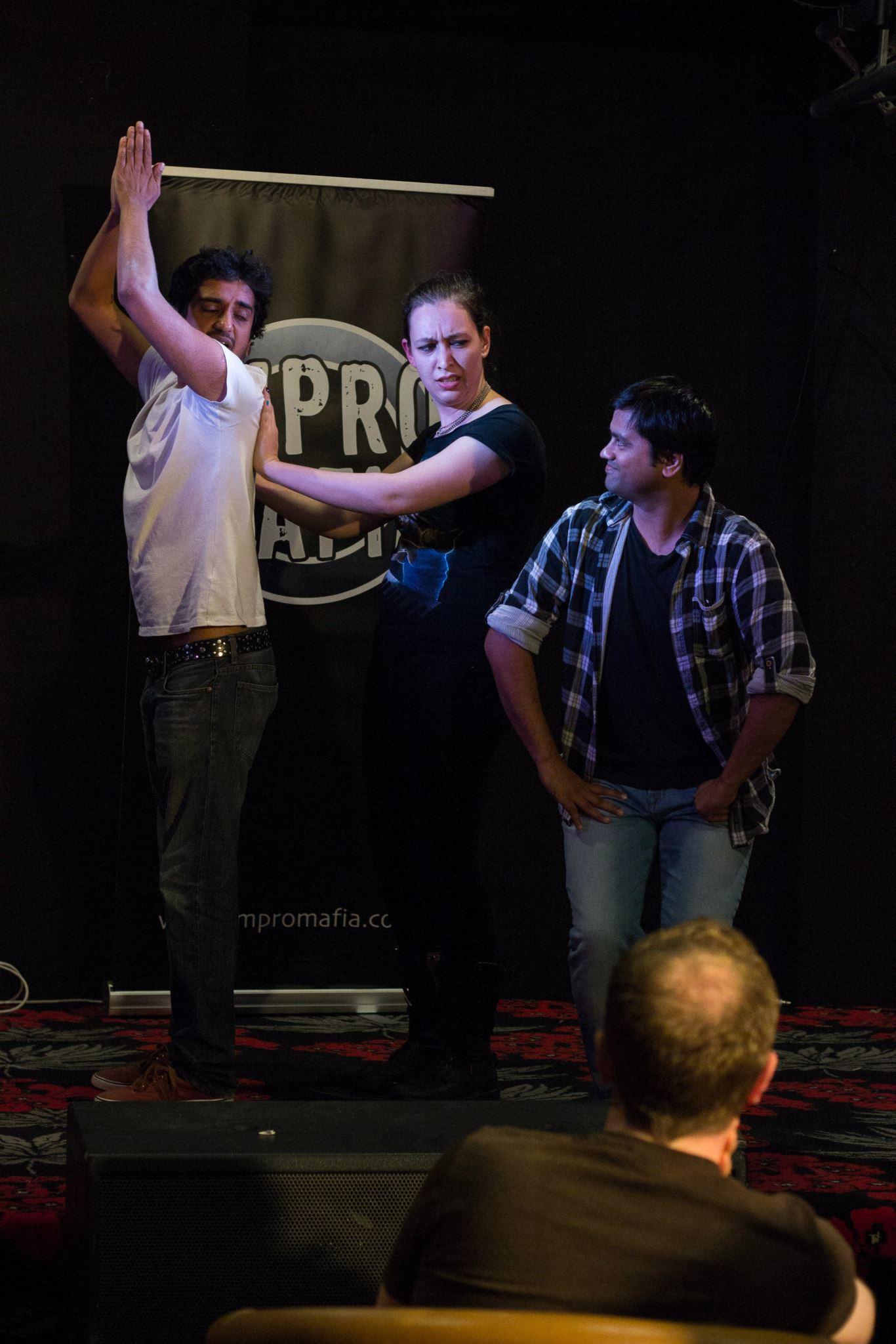 Rare evidence of Ashwin improvising at Double Shot Impro.