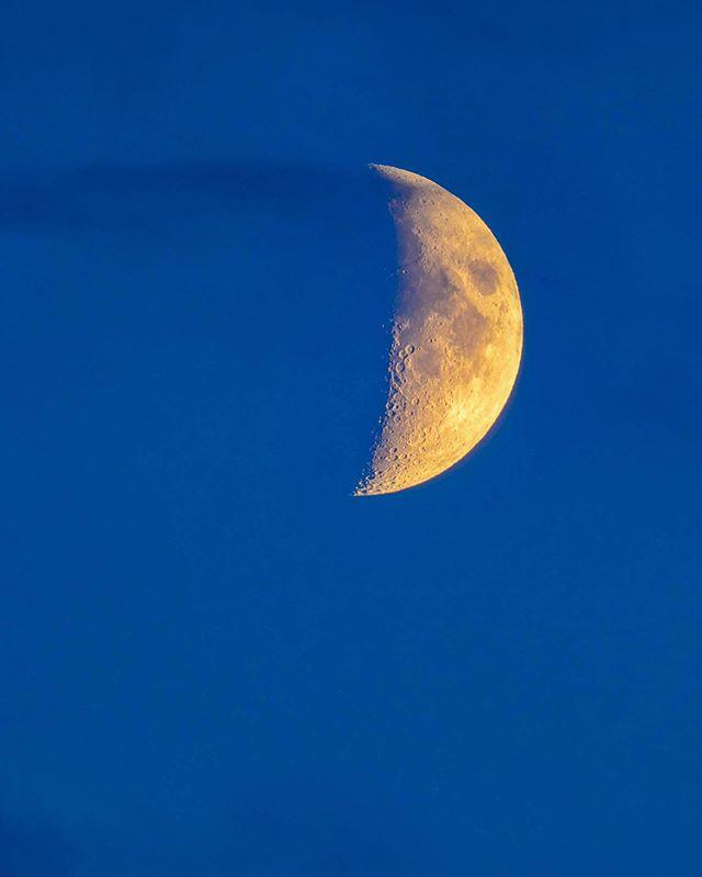 The Moon. #moon #HalfMoon #night #sky #blue #latergram #olympus #300mm #mc14 #handheld