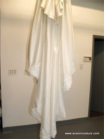"""Wedding Gown Hem and Train """"After"""""""