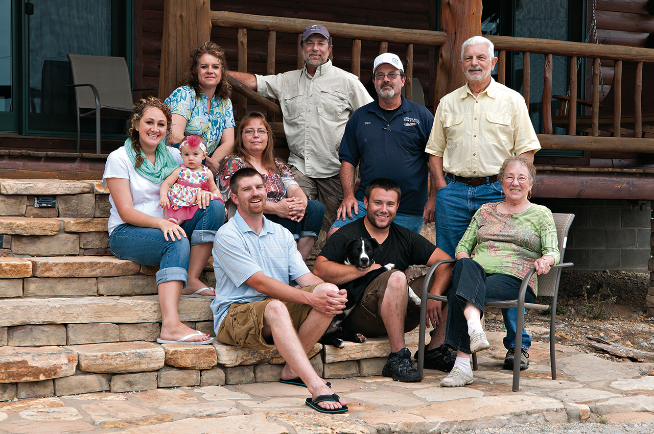 Five generations of the Cook family have called Theodosia home. Top row, from left, Melanie, Bret, Ben and Bill; center row, LaTasha, Kentlee and Vicky; bottom row, Mitchell, Chase and Nadine.