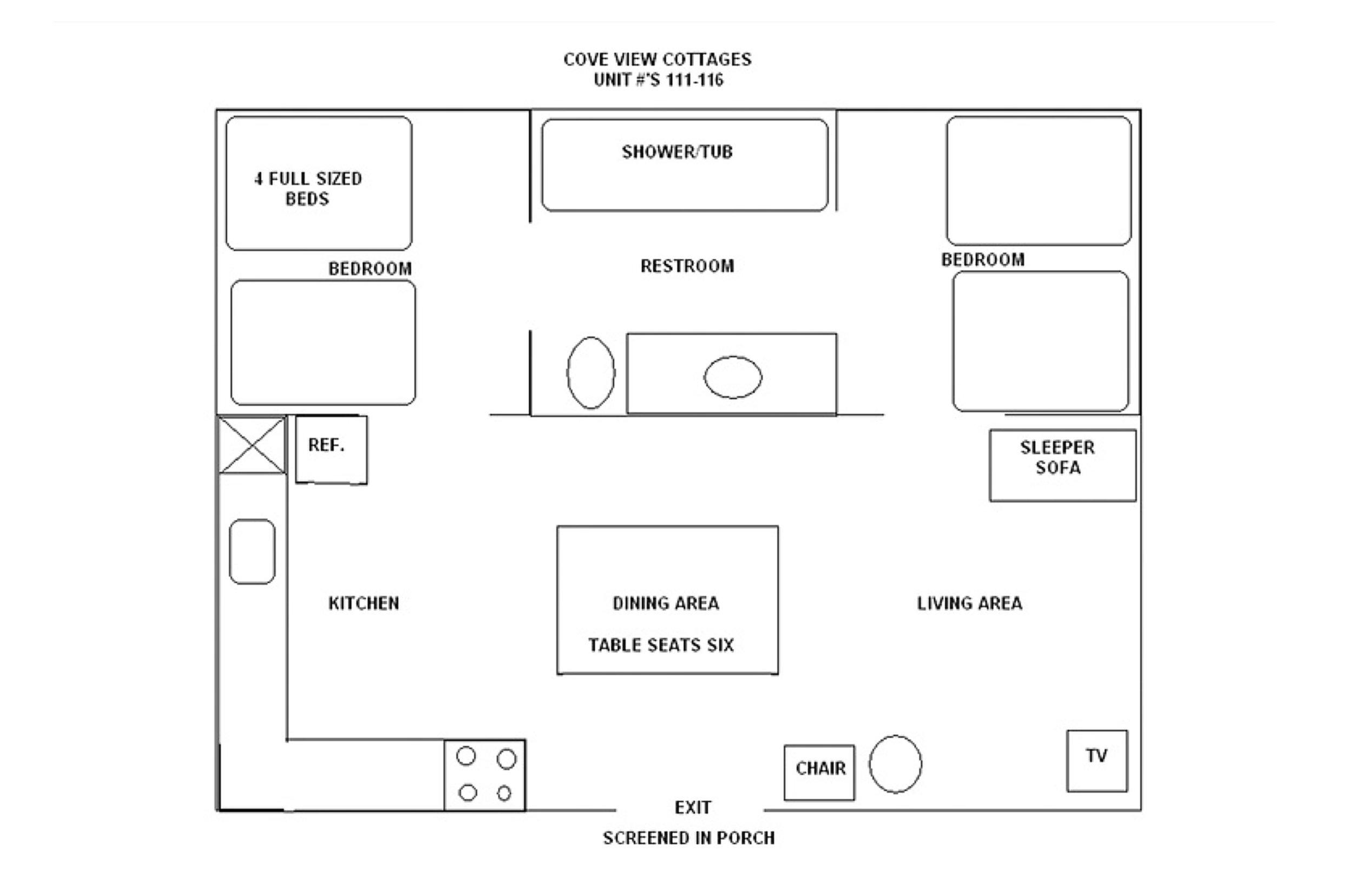 Bull Shoals Lake vacation rental cabins_floor plan