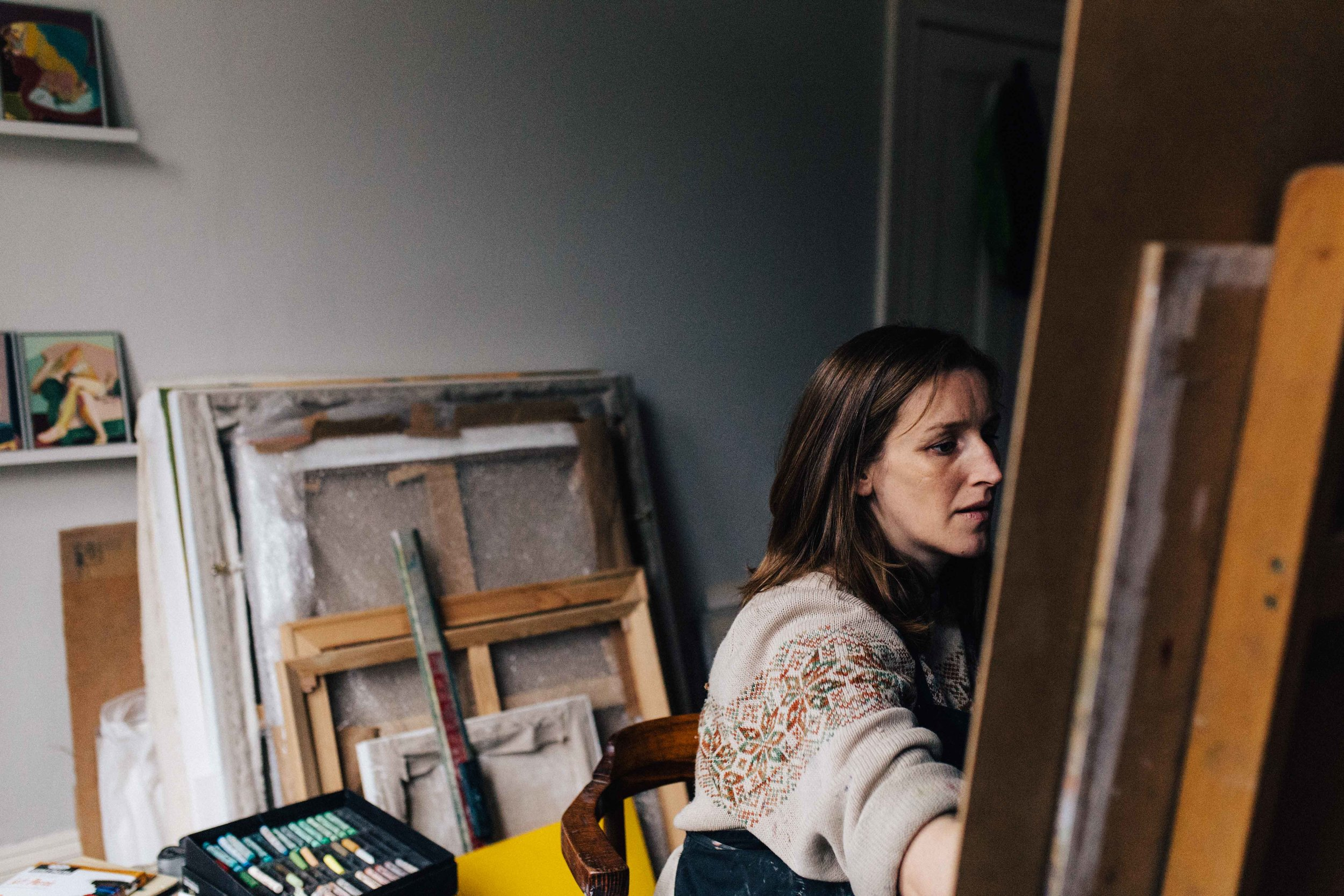 Visual artist Hester Finch at work in studio