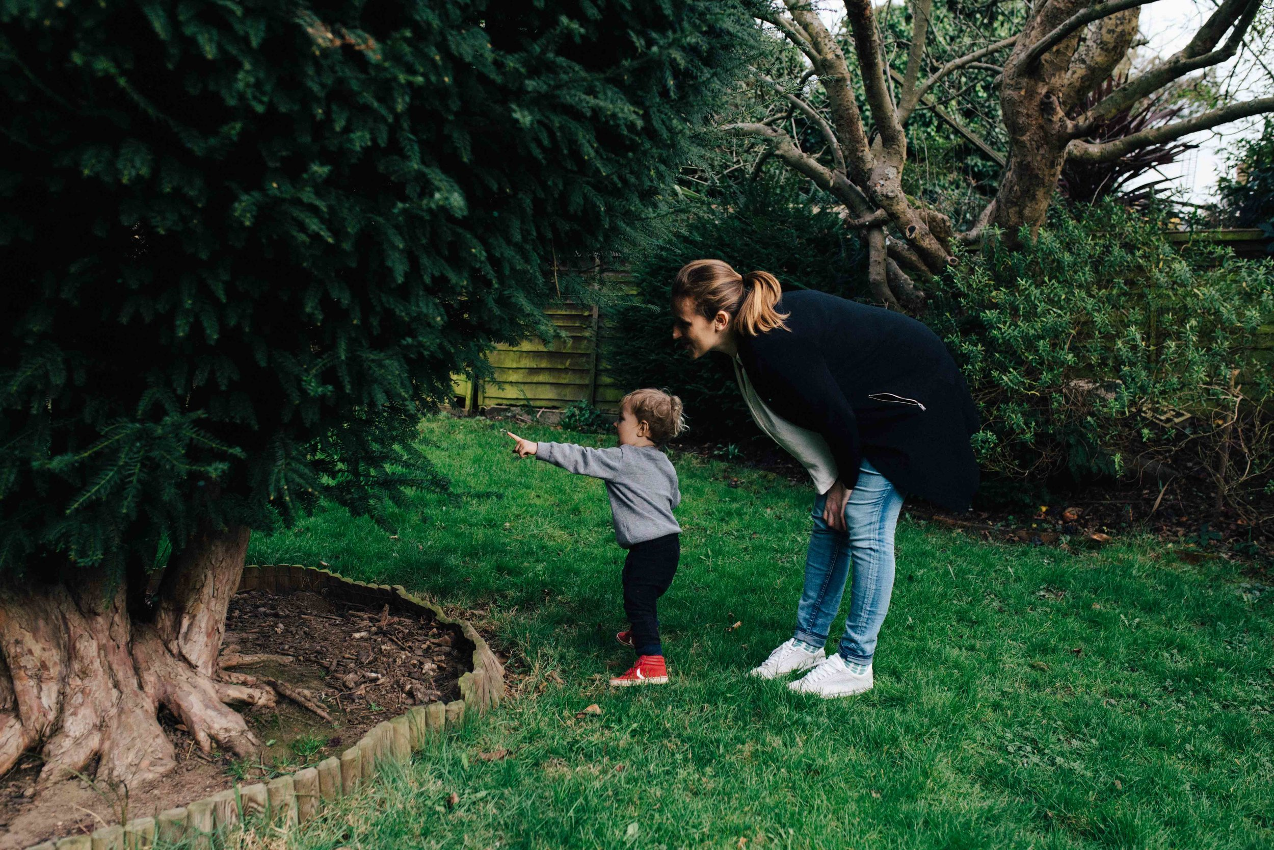 Mother and son in the garden