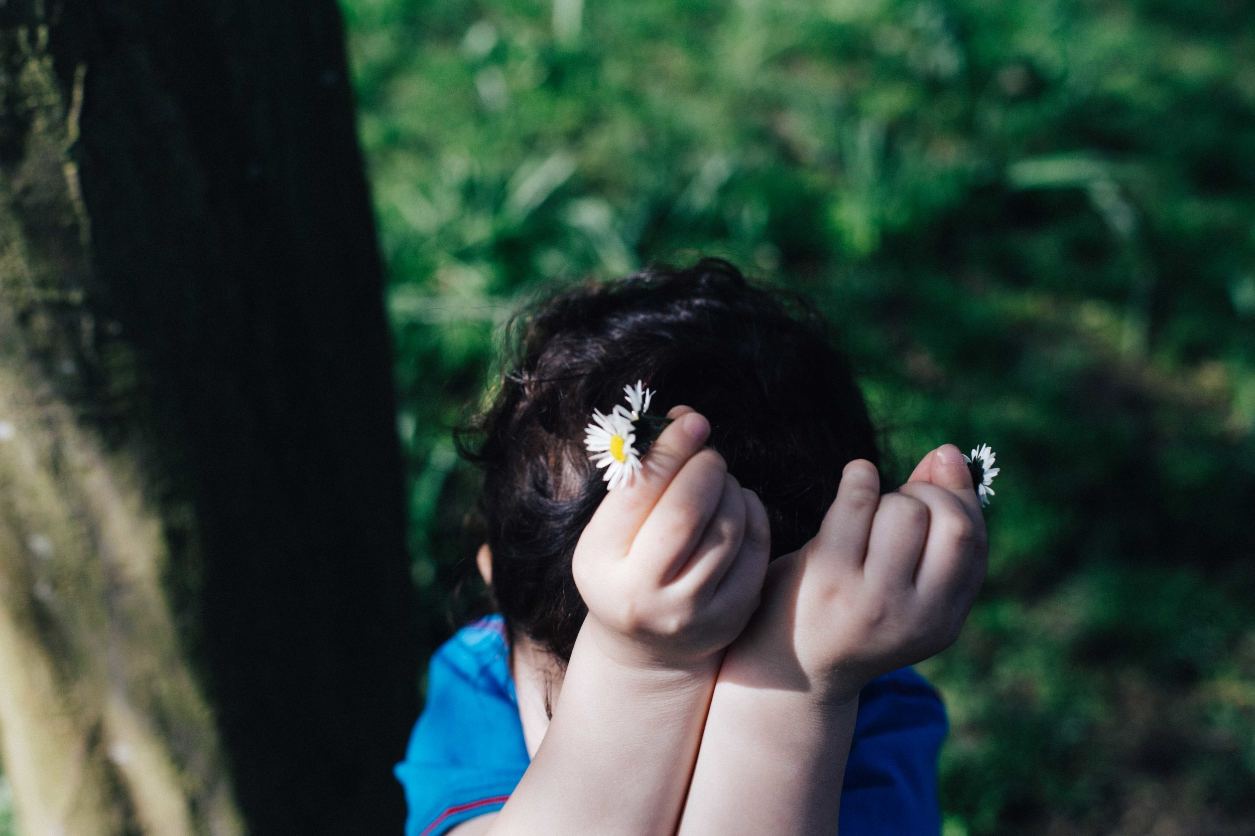 Child holding flowers above his head at Horniman Museum, Forrest Hill, London
