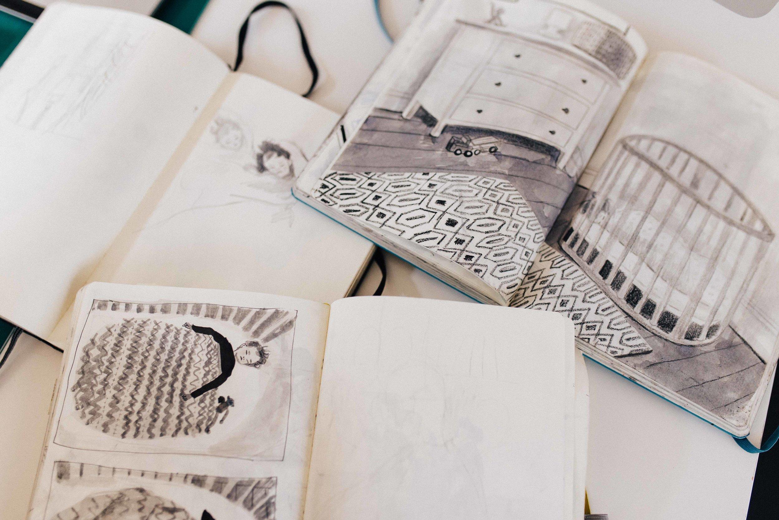 Details of illustrations by artist Emma Farrarons - London branding photography