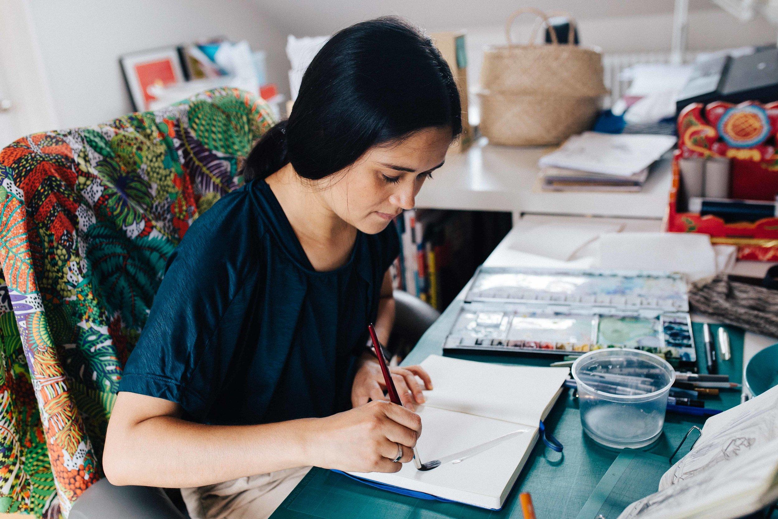 Illustrator Emma Farrarons in her studio