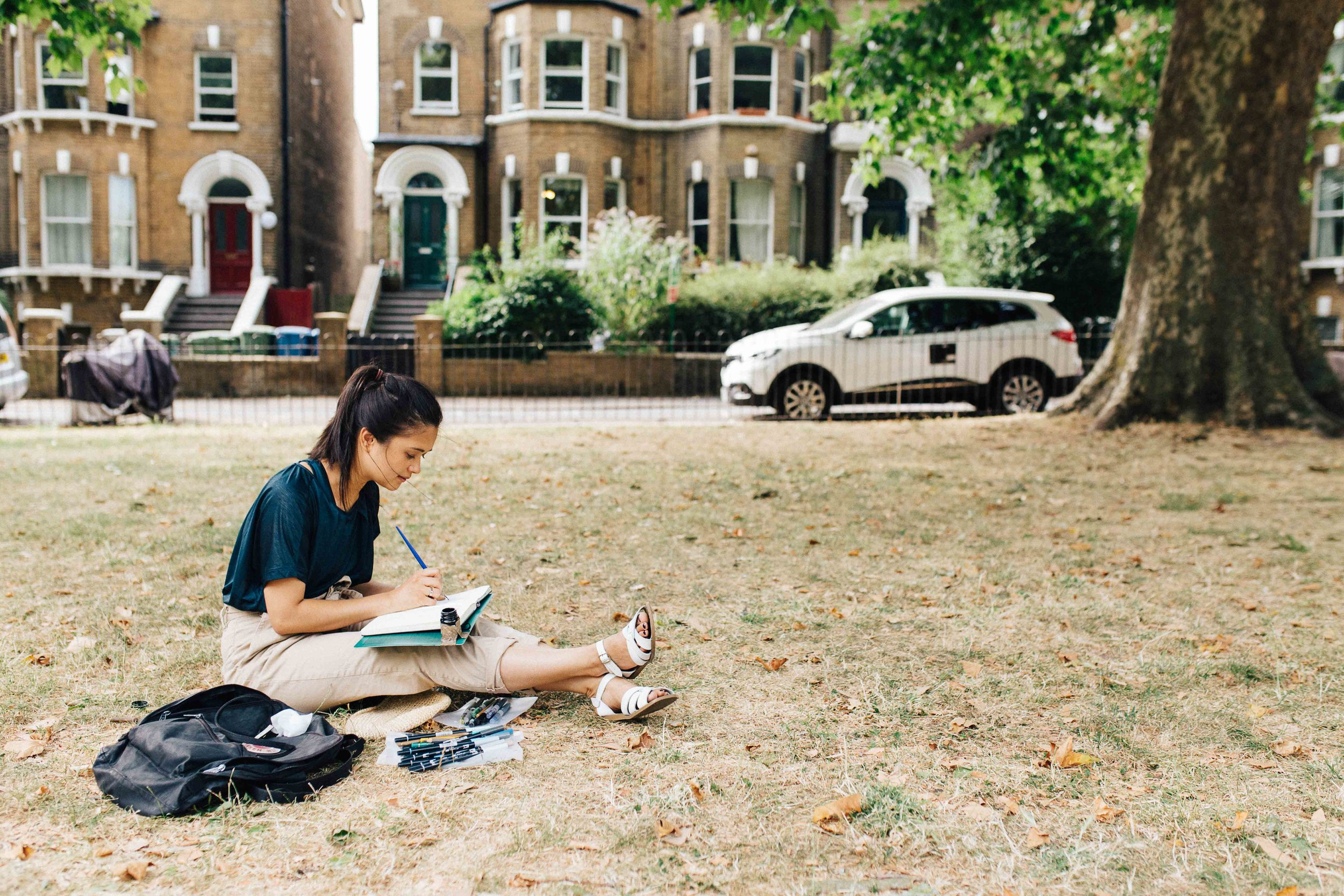 Illustrator Emma Farrarons during photo session in East Dulwich