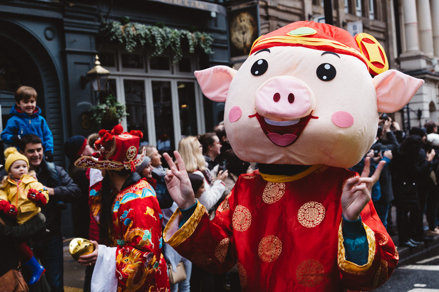 Person dressed as a Pig for the Chinese New Year Parade in London