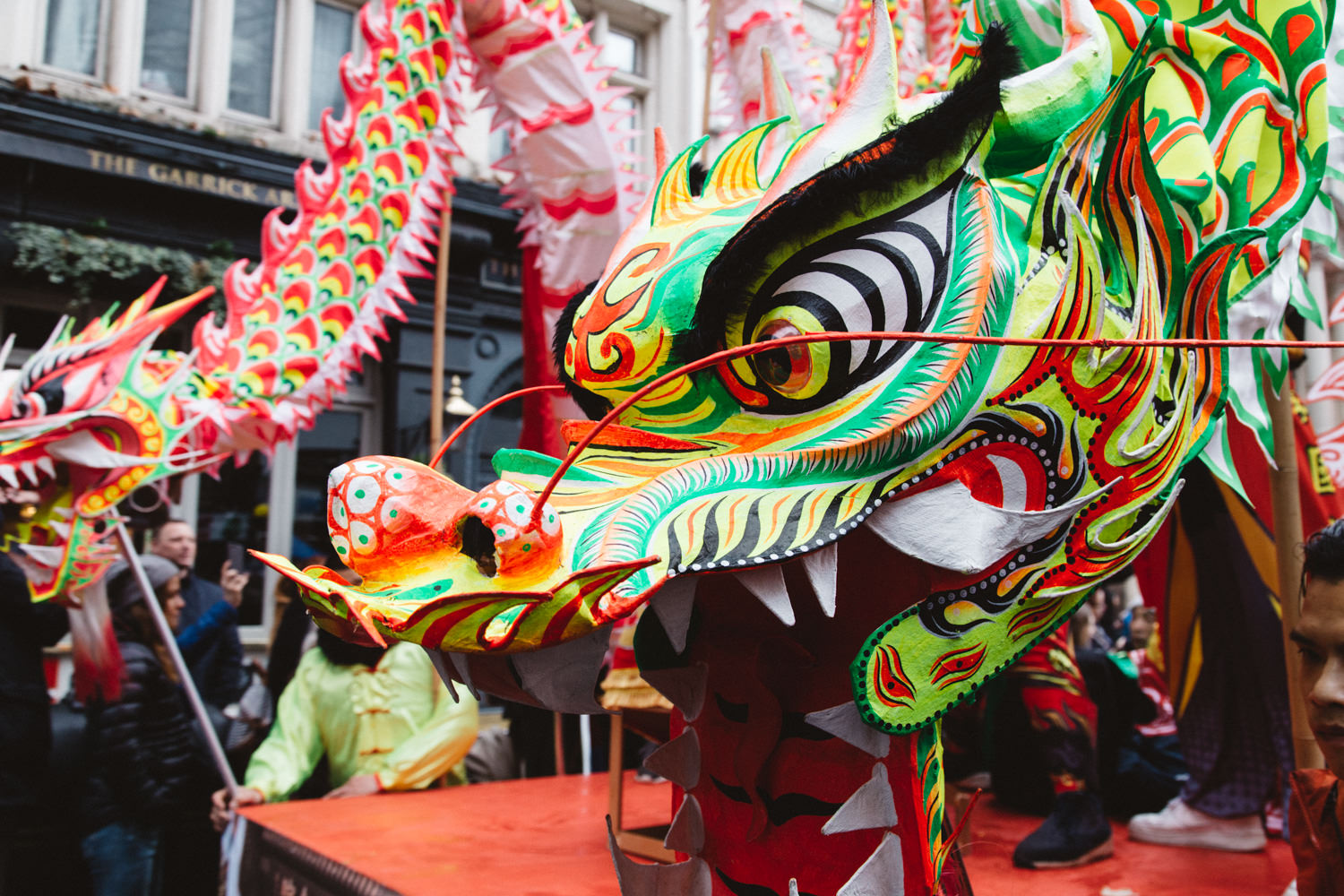 Dancing lion during the Chinese New Year Parade in London