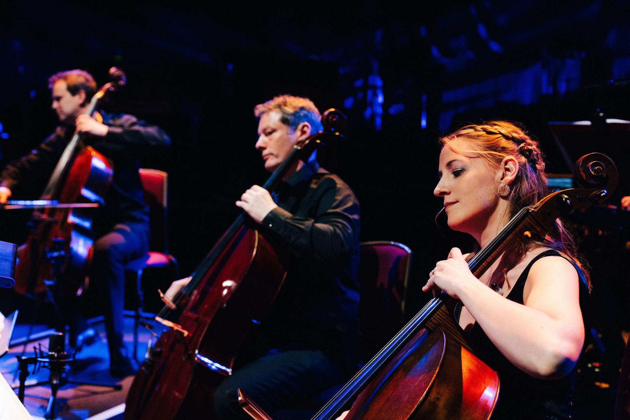 Portrait of cellist Katherine Jenkinson at the Royal Albert Hall