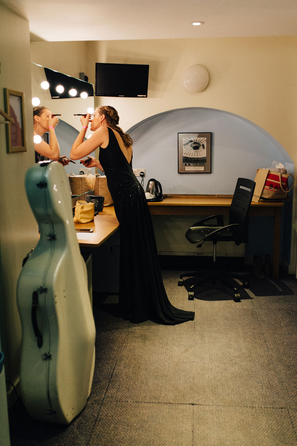 Kath getting ready for her performance