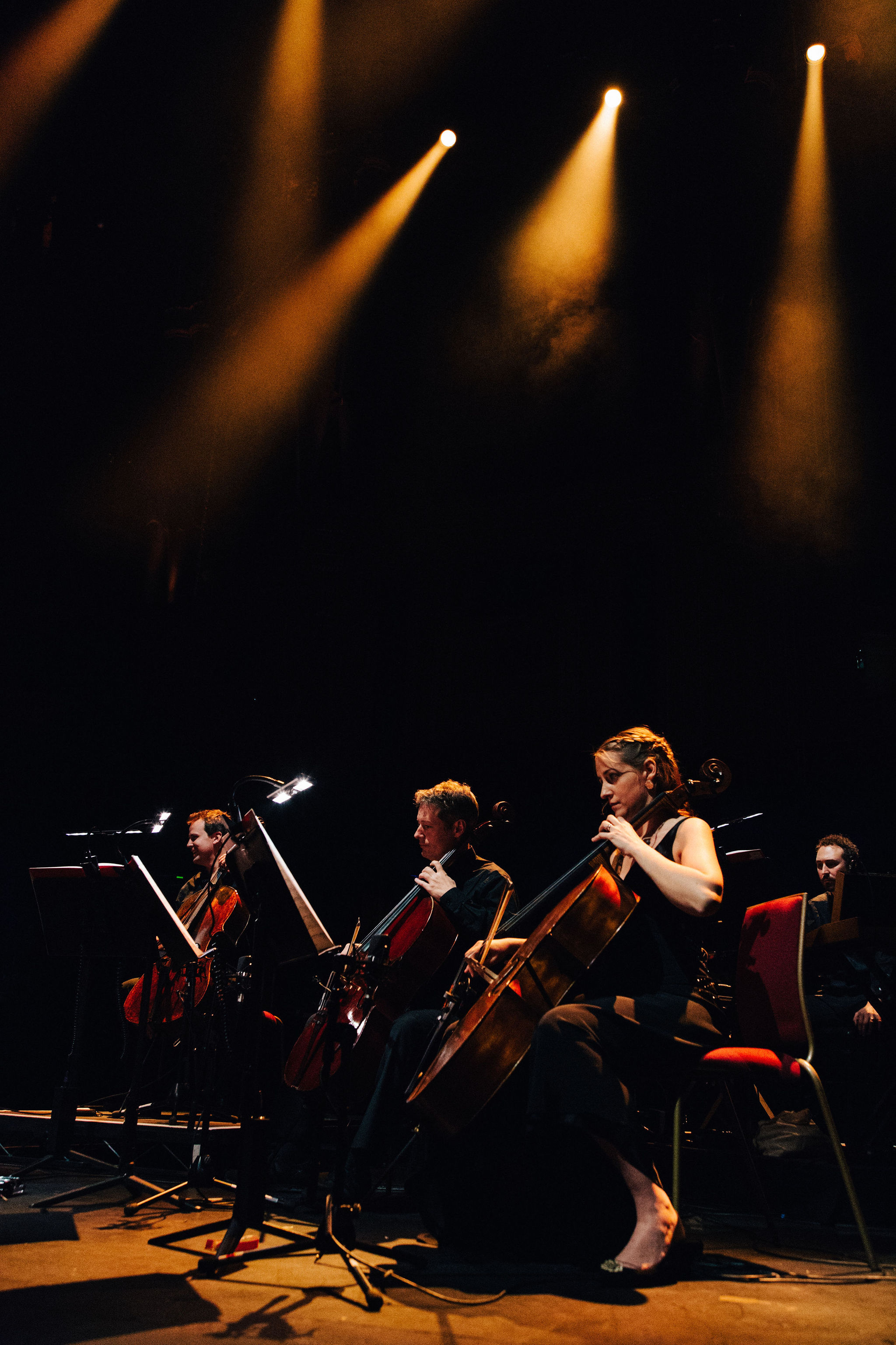 Kath as part of a sextet of cellists rehearsing for Bach Evolution at the Royal Albert Hall