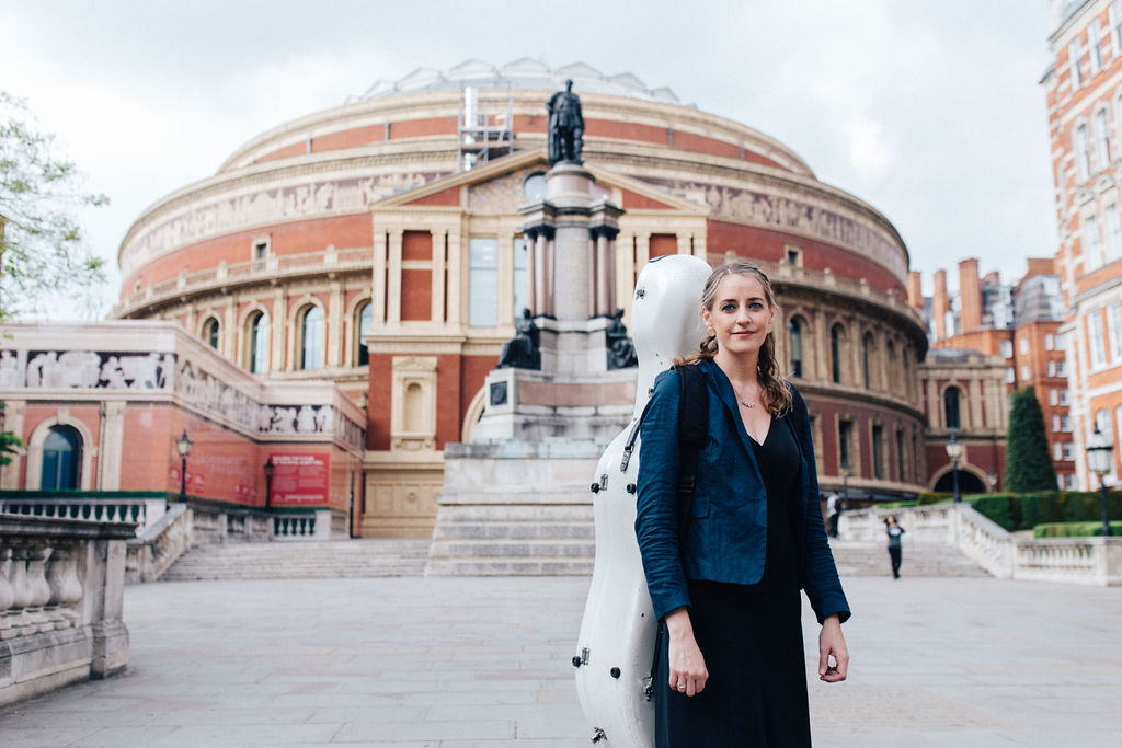 Portrait of Katherine Jenkinson in front of the Royal Albert Hall