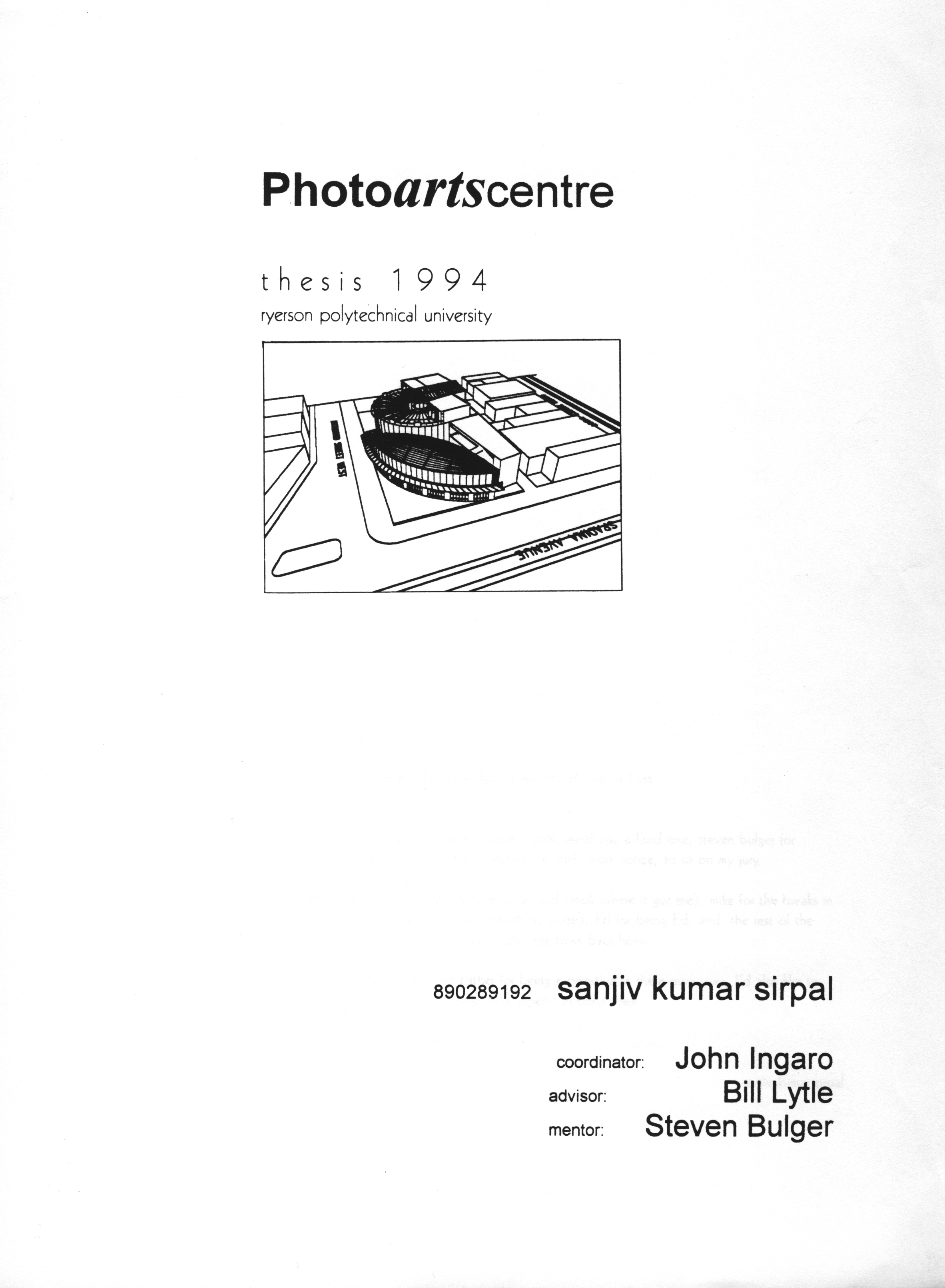 PhotographicArts Center Thesis Program - by Sanjiv Sirpal