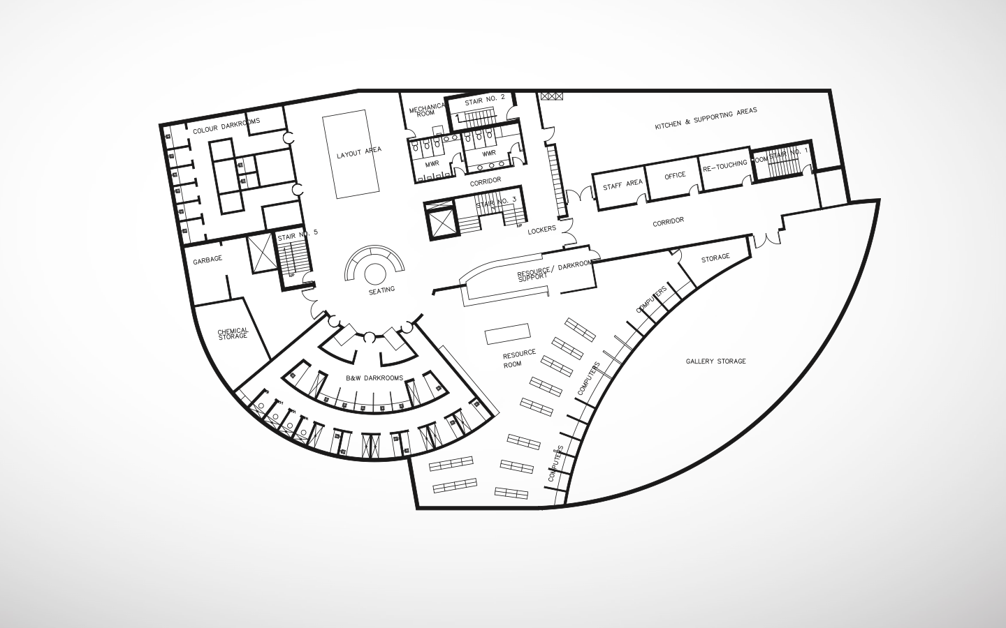 Photographic Arts Center - Basement Floor Plan, by Sanjiv Sirpal