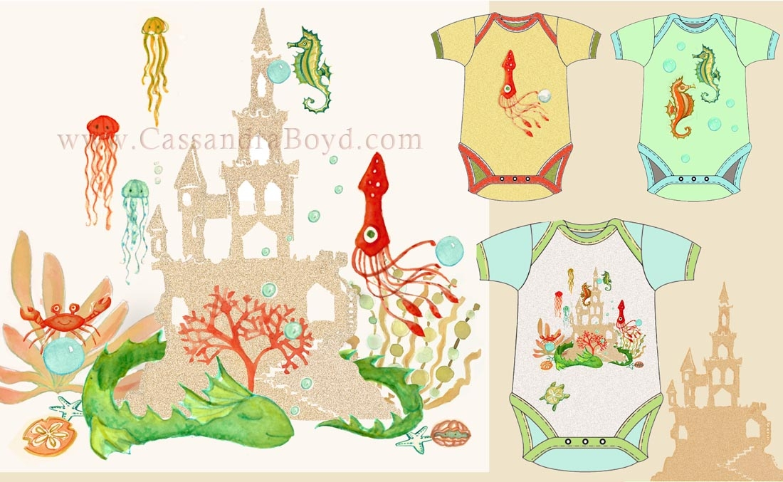 Sand Castle & Sea Monster Baby gifts