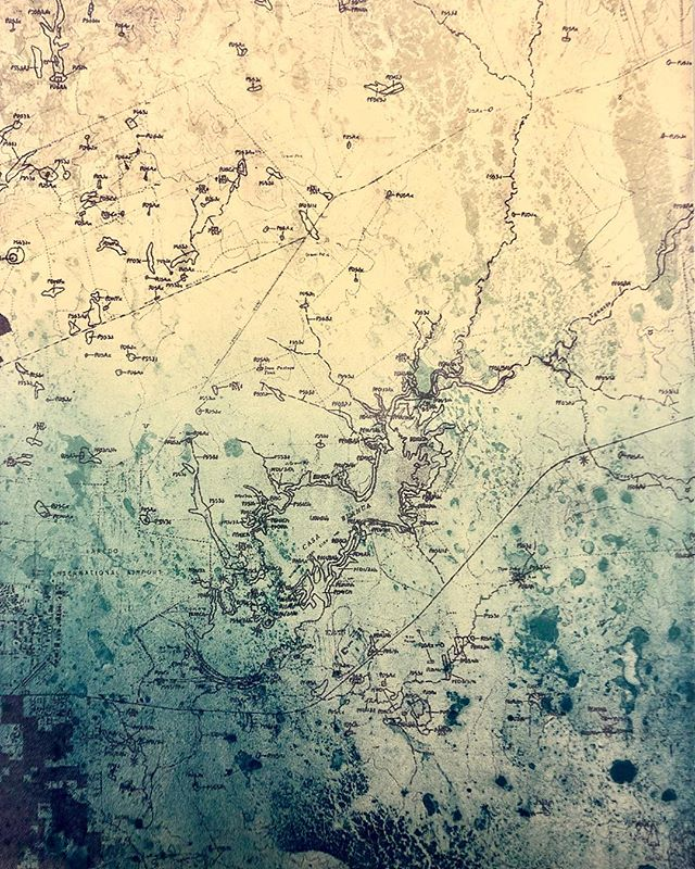 My lithograph for the Tejanos: The Border That Crossed Us. It will be shown this March in Dallas during @sgcinternational. . . . This map is of the city I was born in, around 30 years before. This area is complete different now; just to show how South Texas is growing and changing. . . . #lithograph #printmaking #map #cartography #texas #southtexas #lakecasablanca #laredo #tuschewash #tejano #border #lithography