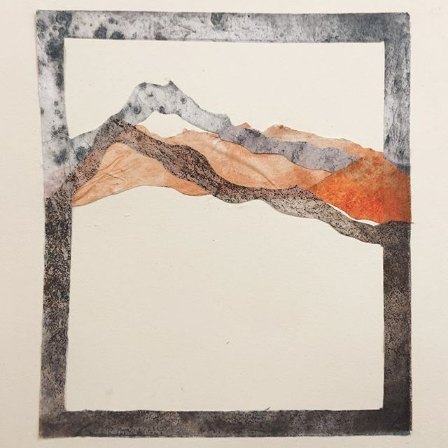 Another little collage. . . . #collage #monoprint #etching #landscape
