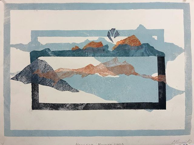 A bigger collage? And some litho. . . . #collage #monoprint #etching #lithography #blue #landscape