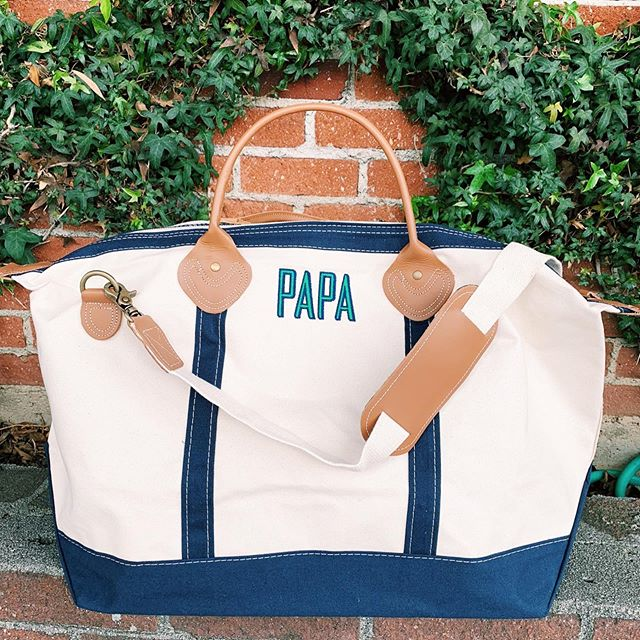 Father's Day is June 16th! A handsome and sturdy weekender bag is an essential for your luggage wardrobe. Personalize it with a name, nickname, monogram, or destination! #themonogrammedhome #monogrammed #personalizedgifts #fathersday