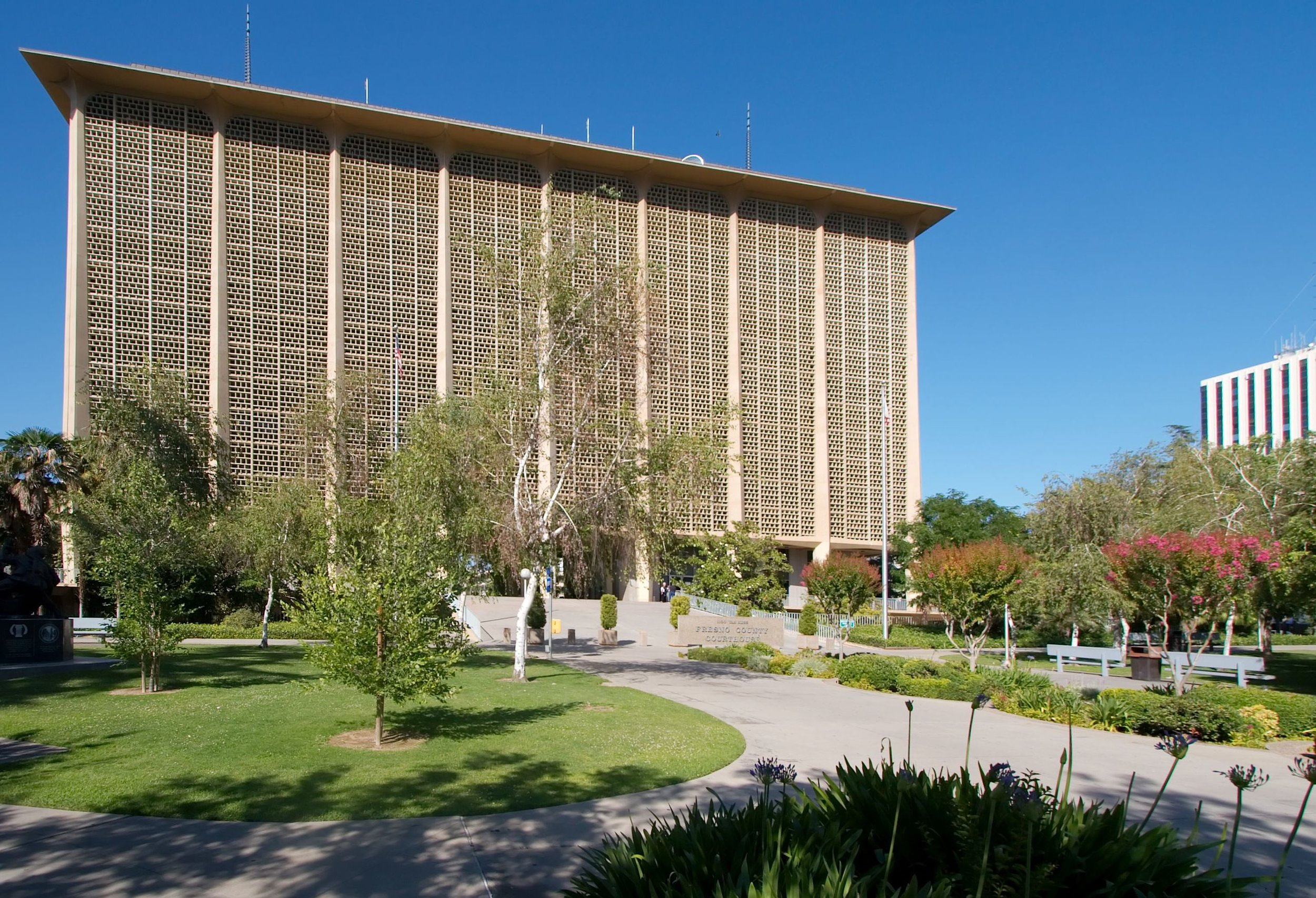 Fresno criminal courthouse located at 1100 Van Ness Ave.