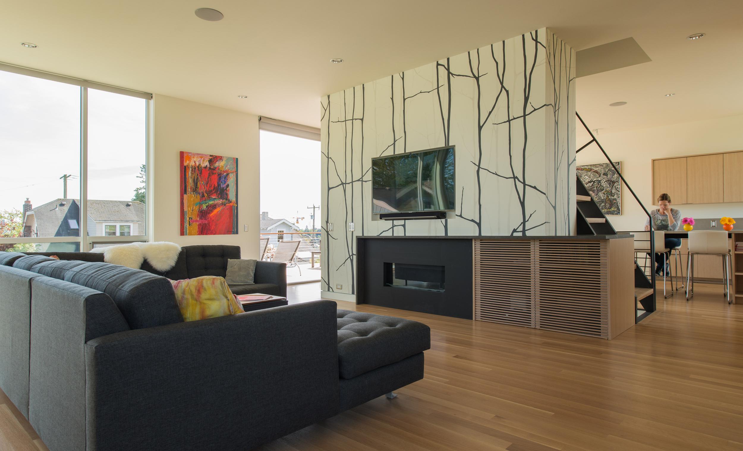 Image continues into living room. Photo by Andrew van Leeuwen, BUILD LLC