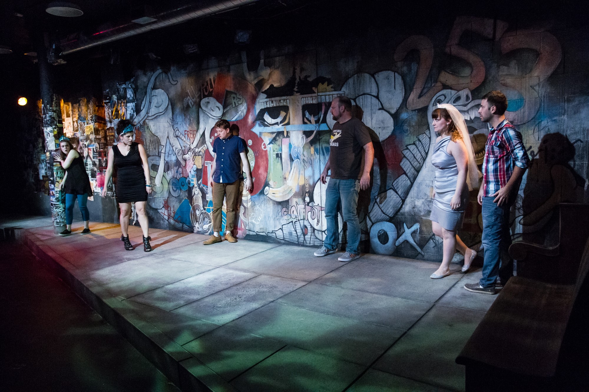 The whole cast.  Linda  - Shawna Nordman,  Melissa -  Nicole Accuardi,  Eddie -  R. David Wyllie,  Bob -  Tom Mounsey,  Marnie -  Holly Wigmore,  Frank -  Murri Lazaroff-Babi