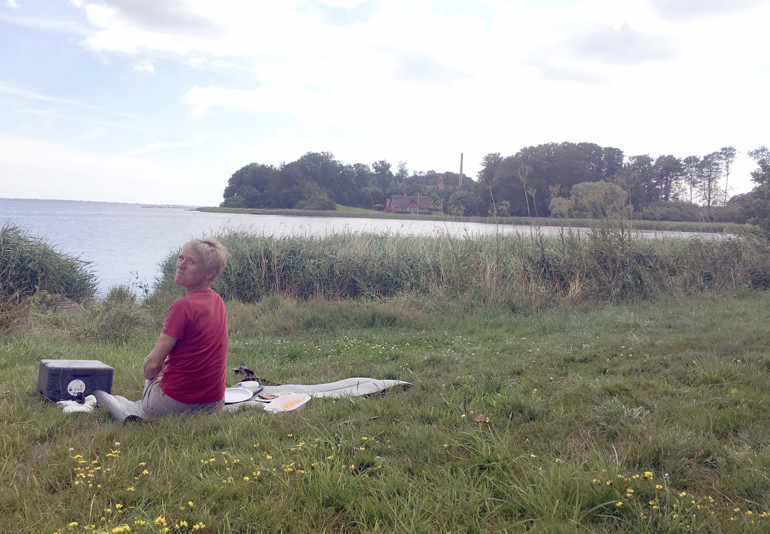 Picnic on the side of the road, next to the Nakkebølle Fjord.