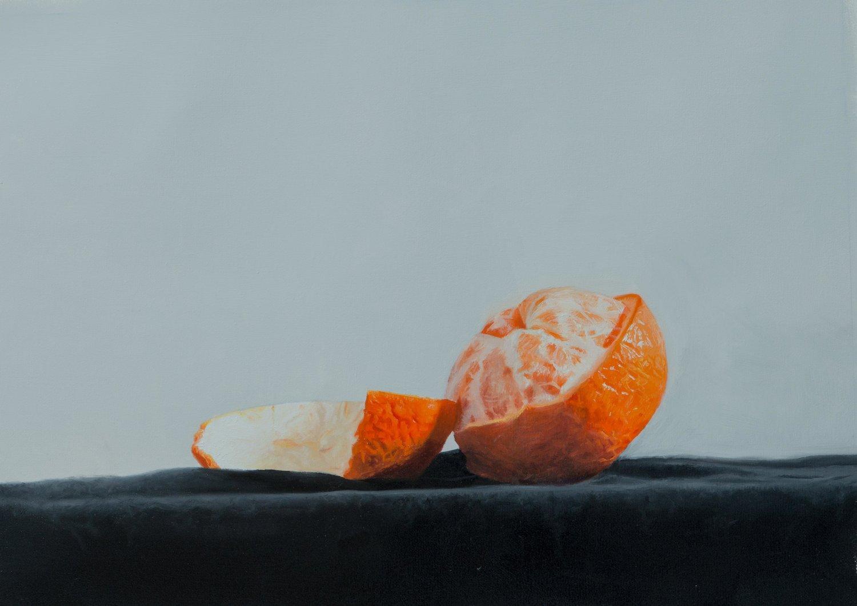 """'Orange in Blue'  Medium: Oil on canvas Size: 12"""" x 16"""" / 29cm x 42cm  studio@michaelsydneymoore.com for inquiries"""