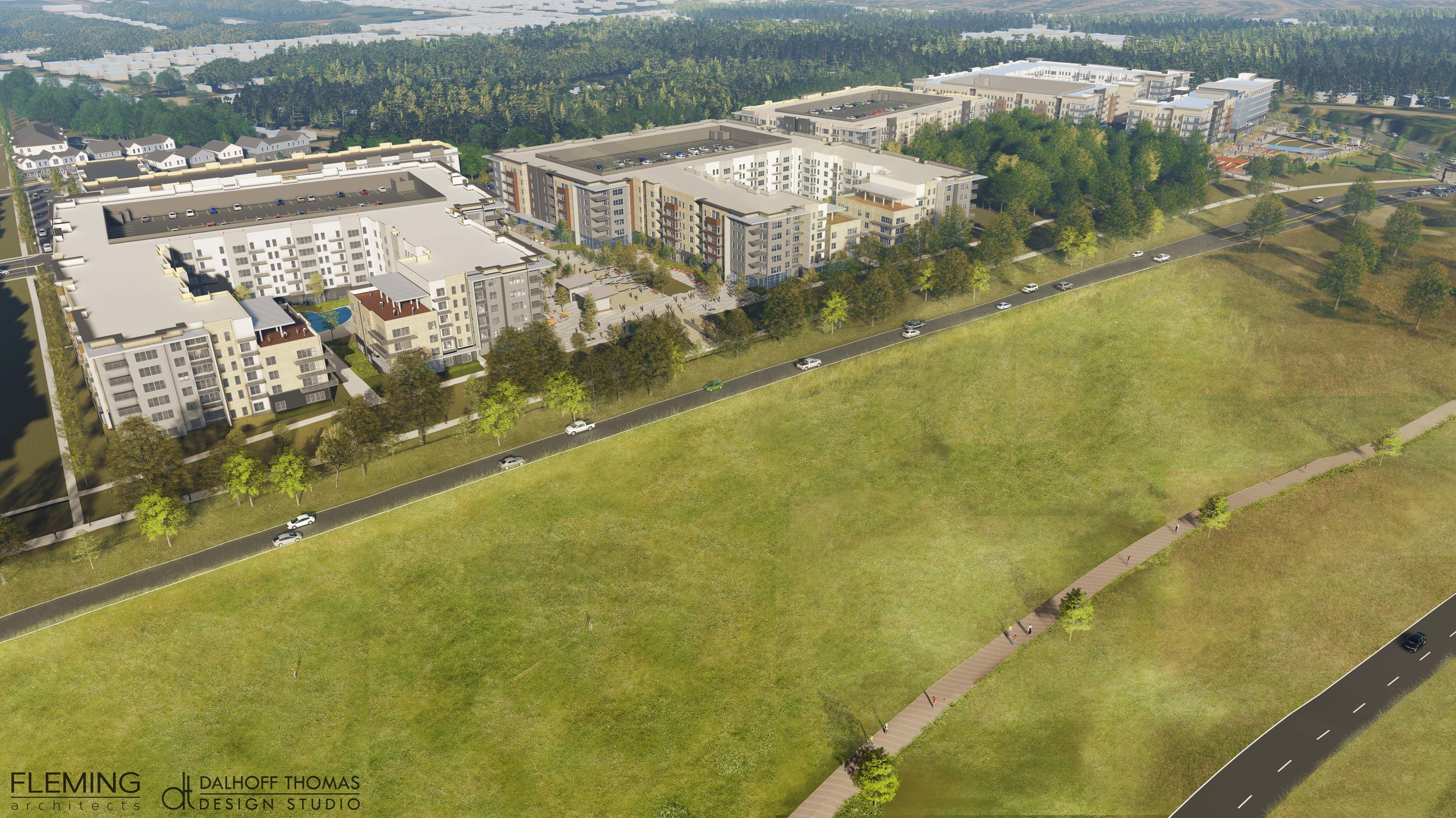 Mixed-use mid-rise apartments facing the Greenline and Shelby Farms Park
