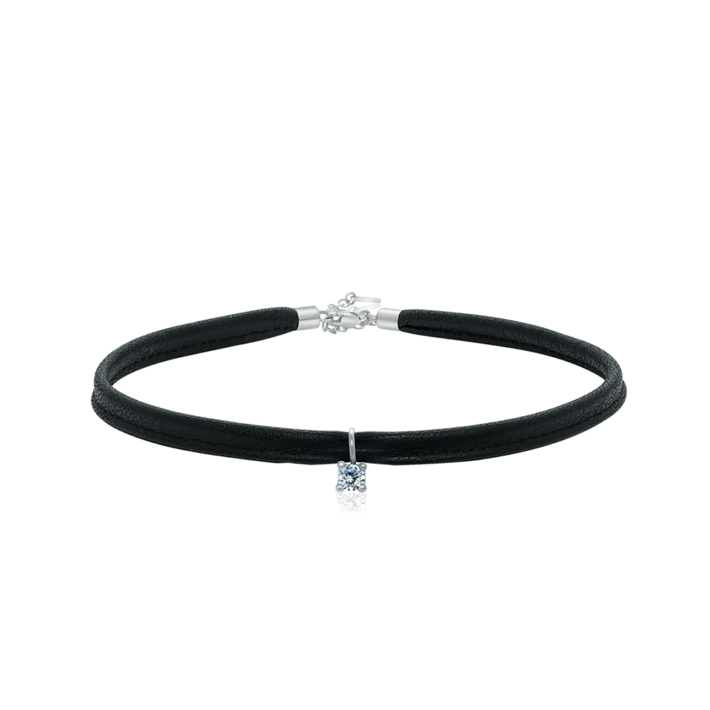 Chika + Pound  -  Leather and 925 Sterling Silver   Choker & charm Duo
