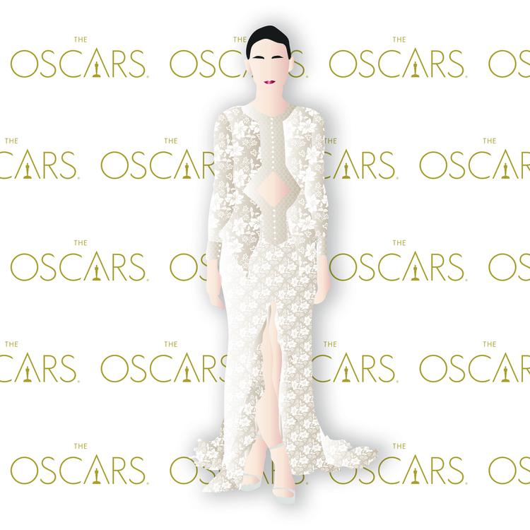 Rooney Mara at the 2016 Oscars in Givenchy. Digital Illustration