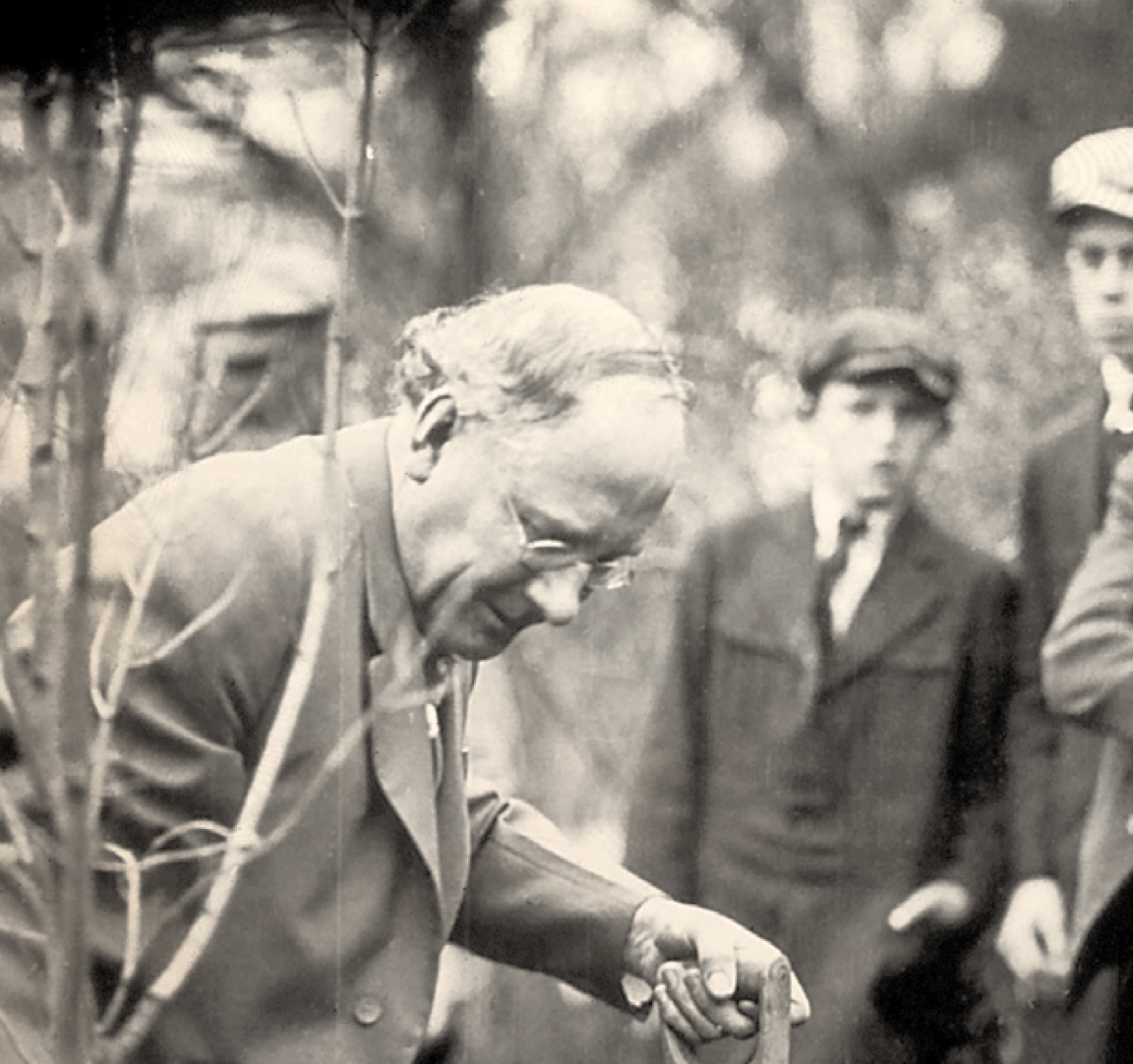 J Sterling Morton planting a tree. Photo courtesy of National ArborDay Foundation